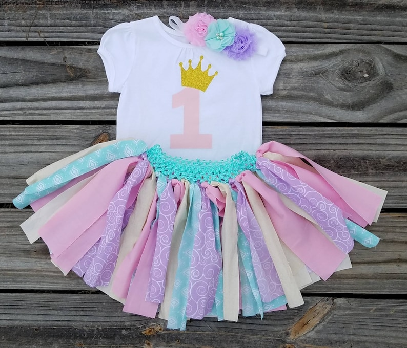 Pink And Mint First Birthday Outfit 1 Year Old Girl Smash