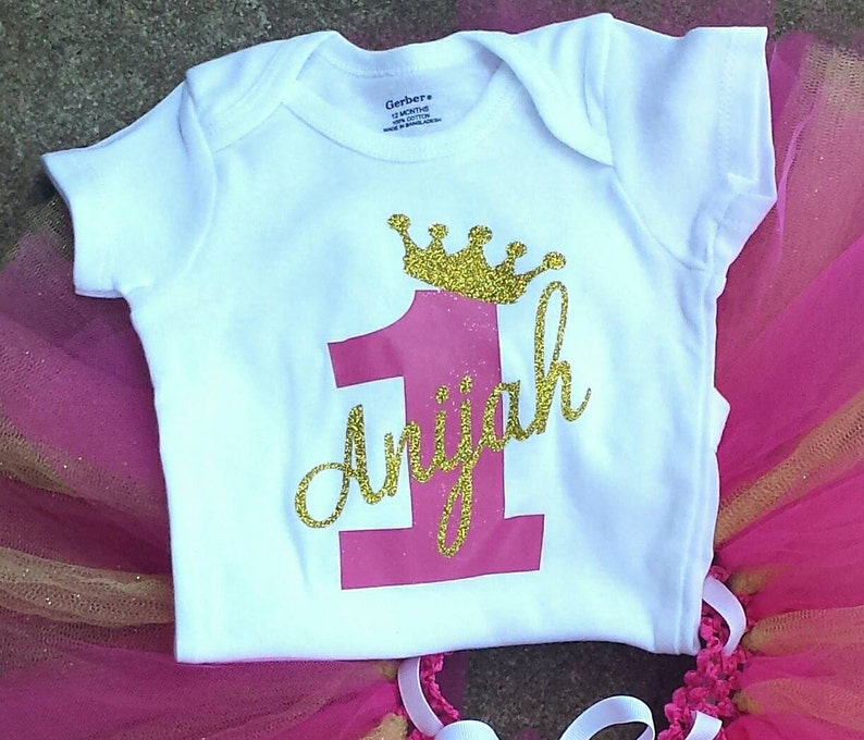 One Year Old Birthday Girls Outfit Personalized 1