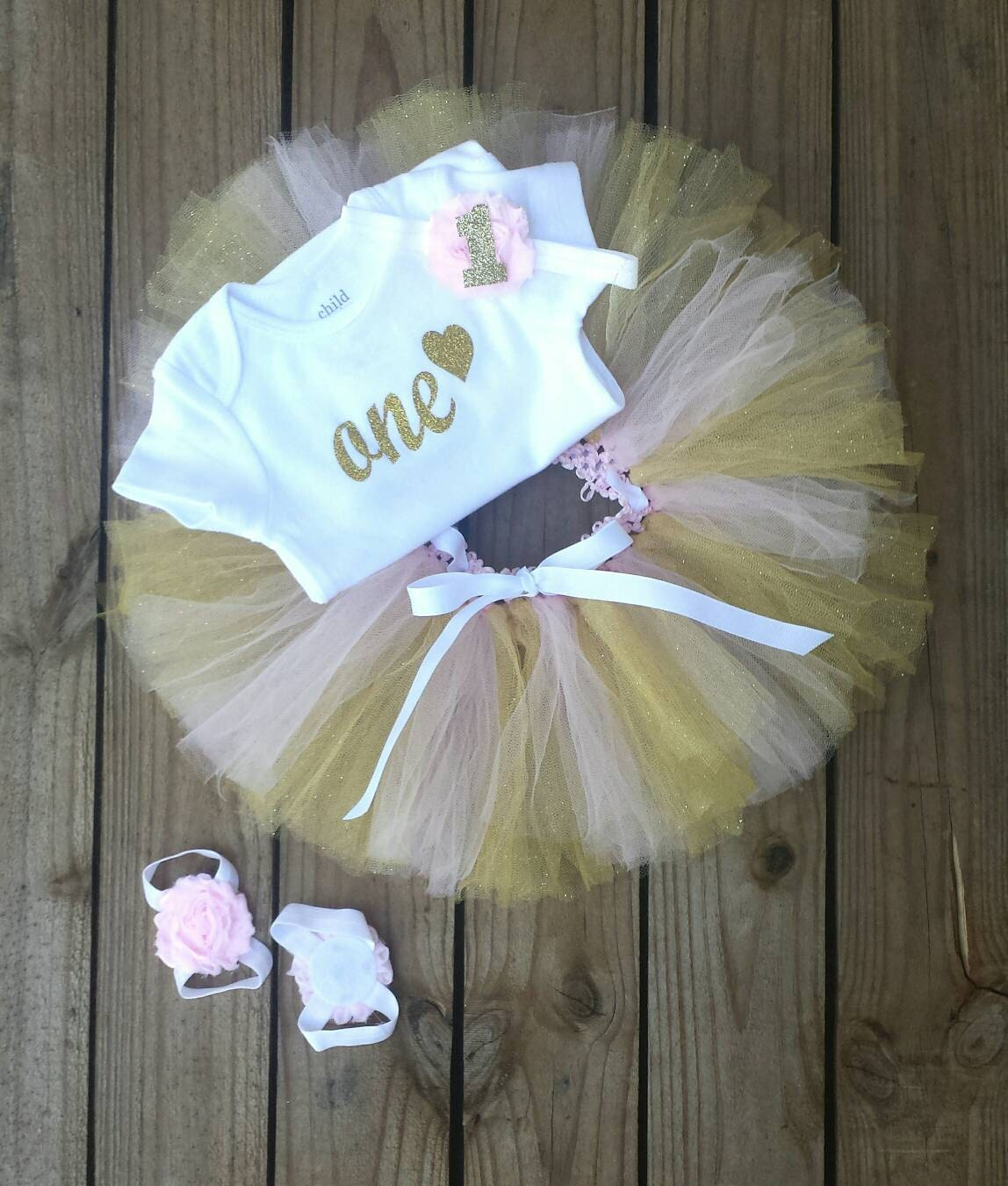 e76ff22b 1 Year Old Girl Birthday Tutu Dress Pink and Gold Glittered | Etsy