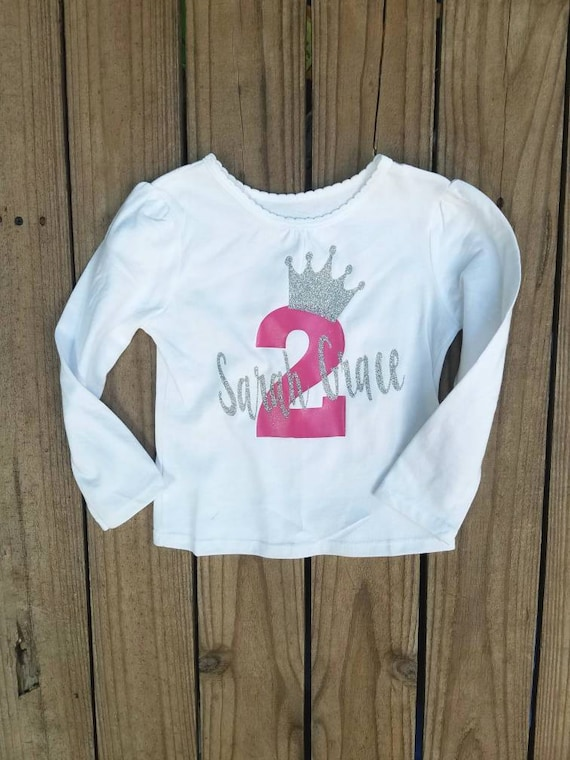 Two Year Old Birthday Girl Outfit Personalized Shirt Pink