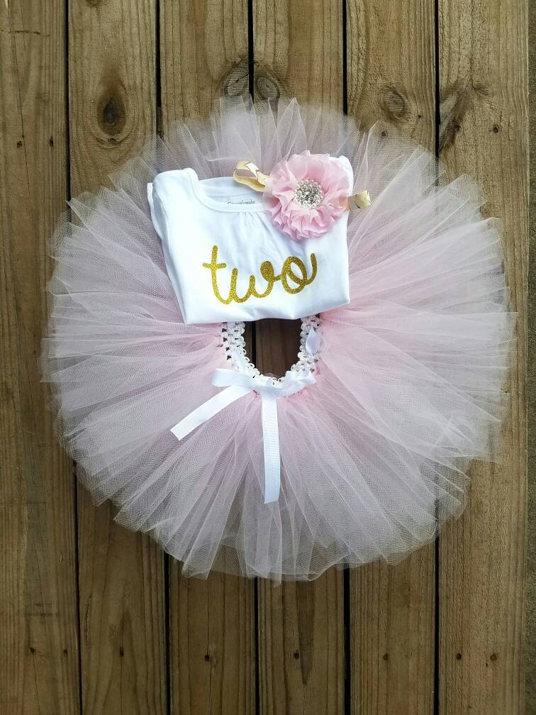 Two Year Old Girls Birthday Outfit 2 Pink Tutu Second Party Dress TWO Gold Glittered Top And Miss Thangs