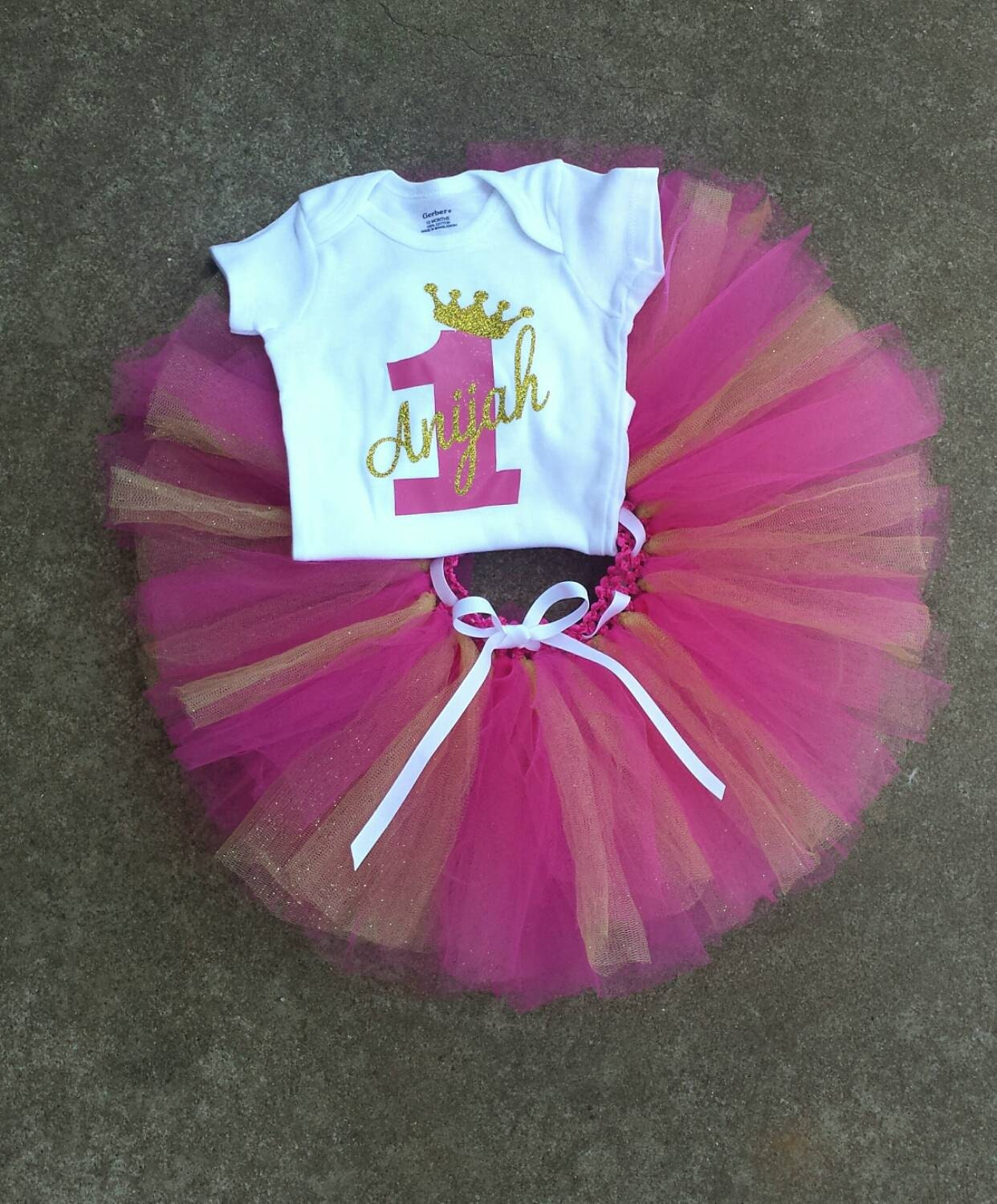 One Year Old Girls Birthday Outfit First Party Pink And Gold Glittere