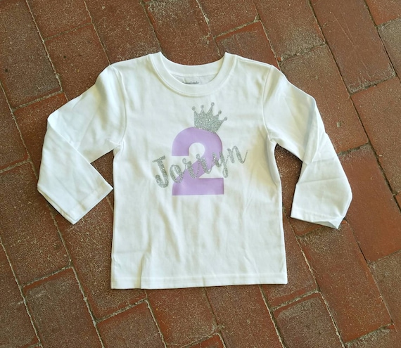 Purple And Silver Two Year Old Birthday Shirt Personalized 2