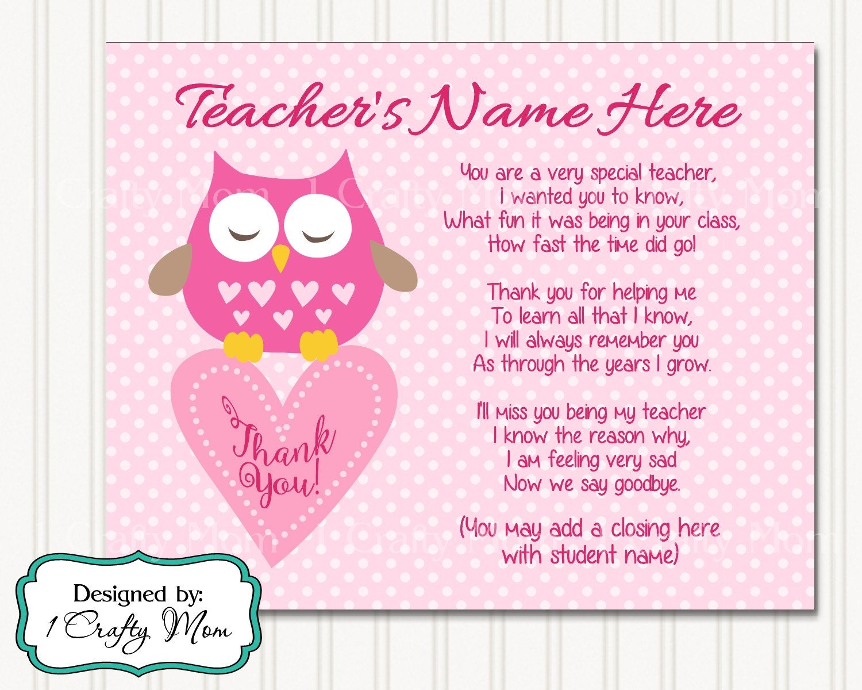 Teacher Appreciation Poem 2: 8x10 11x14 Printable Art Digital   Etsy