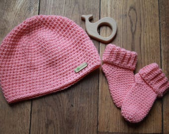 Handmade Cotton Wool Baby Hat Socks Set Coral