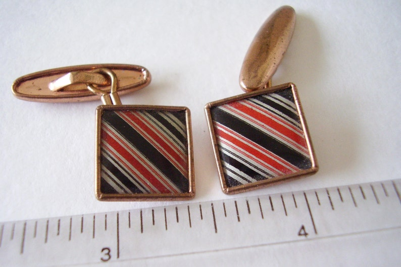 Cuff-links 1950/'s Vintage Black /& Red Bar Stripe Enamel Gilt Square Shirt-sleeve links