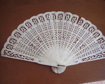 Antique Fan Chinese Canton 19c Qing Dynasty Carved Bone Brise Fan Spare Repair
