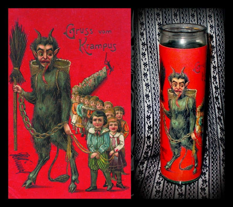 Red or Green Wax Candle Tall Round Glass Jar Candle KRAMPUS CANDLE Glass Pillar Krampus Novena Prayer Candle