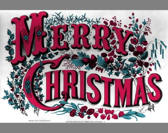 Christmas Clip Art Vintage Merry Clipart Digital Print Of A Retro Greeting Card Lettering By Currier Ives