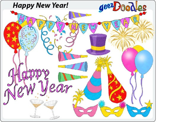 New Year Clipart Happy New Year Colorful hand drawn clip   Etsy
