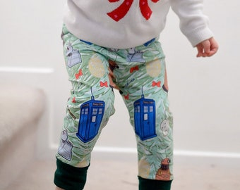 ecc0fc517b3753 Christmas Doctor Who grow-with-me pants, exclusive print, custom printed  fabric, handmade leggings