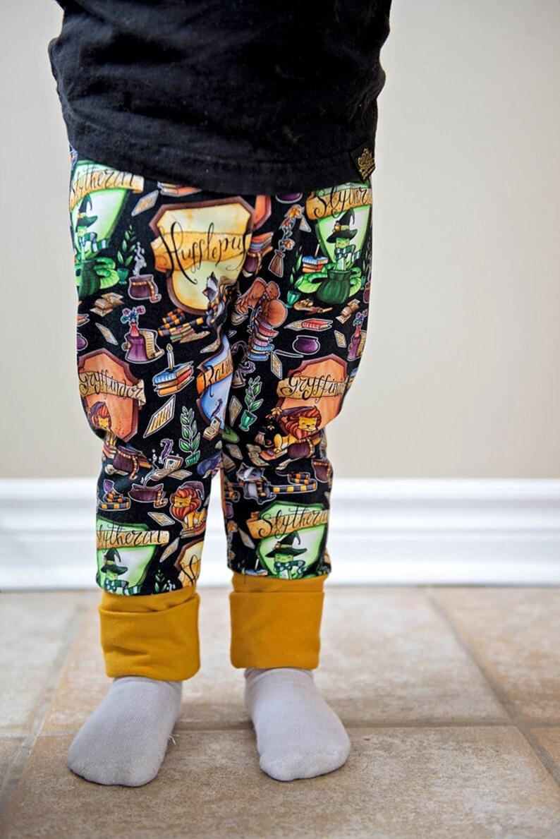 Hogwarts house animal Crest grow with me pants, custom printed Harry Potter  pants, handmade