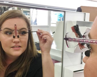 The only helper that really works - Apply eye makeup wearing your own glasses! Makeup Tool. SpecsUp - Perfect Christmas Gift for Women.