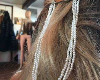 Pearl Bead Dangling Hair Clip