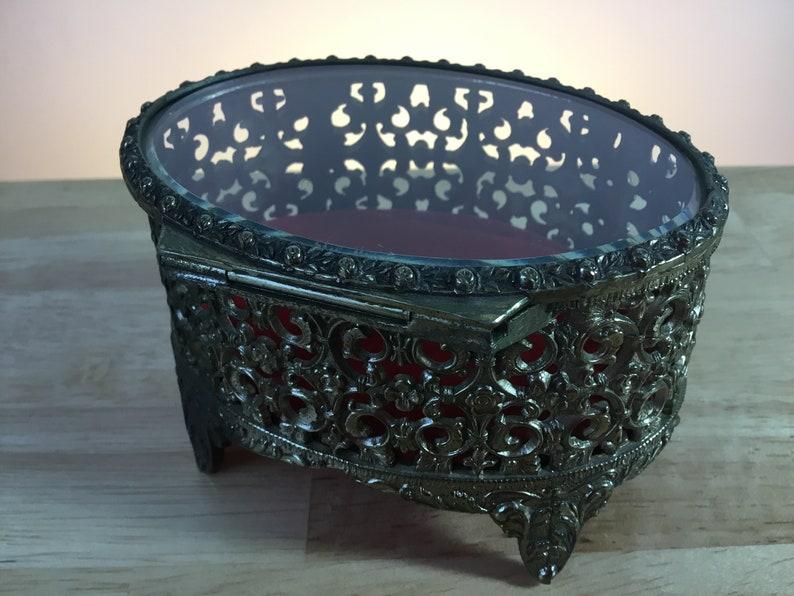 Ornate Brass Jewelry Box FREE SHIPPING!!!! Oval Gold Tone Filigree Beveled Hinged Glass Top Ormoru Jewelry BoxCasket Gold Oval Casket
