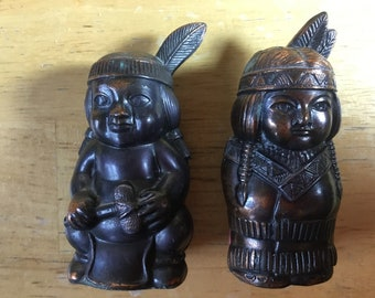 Indian Salt Pepper, Native American Shakers, Unique Salt Pepper, Indian Shakers, Indian Salt, Indian Pepper, FREE SHIPPING!!!!