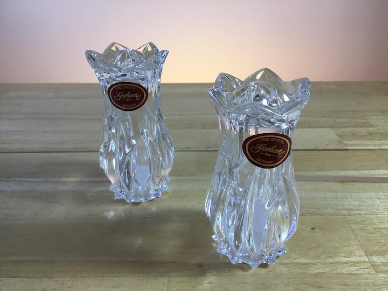 FREE SHIPPING!!!! Crystal Salt And Pepper Set Gorham Germany Fine Crystal Tulip Collection Salt And Pepper Shaker Set Gorham Gift