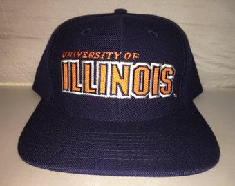 premium selection 32d0e 1bc30 Vintage University of Illinois Fightning Illini Snapback hat cap Sports  Specialties NCAA College football basketball