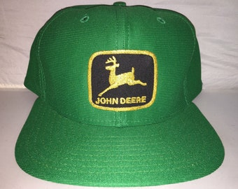 07c9bcf2429 Vintage John Deere Snapback hat cap rare 80s MADE IN USA farm tractor  equipment patch hat