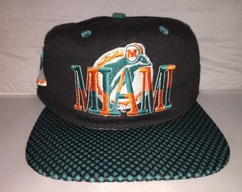 Vintage Miami Dolphins Snapback hat cap NFL football 90s dan marino  1  Apparel 83660ab2c