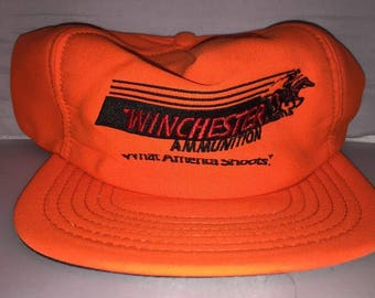 Vintage Winchester Ammunition Snapback hat cap rare 90s hunting made in usa aec0ad2e7e58