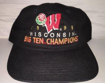 f421c438a0a Vintage Wisconsin Badgers Big Ten Champions Strapback dad hat cap rare 90s  NCAA College Football