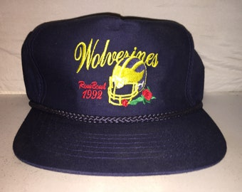 Vintage Michigan Wolverines Snapback hat cap rare 90s deadstock NCAA  college football 1992 Rose Bowl f4c6bda8667a