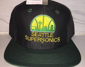 d9dafd01c9376 Vintage Seattle Supersonics Sonics Snapback hat cap rare 90s NBA basketball  shawn kemp gary payton