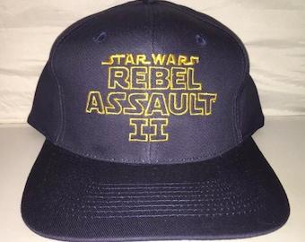 bae355bbc31 Vintage Star Wars Rebel Assault II 2 dark side Snapback hat cap rare 90s  deadstock trilogy video game lucasarts playstation