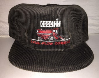 99180e14c29 Vintage Case Axial Flow Combine Corduroy Snapback hat cap rare MADE IN USA  tractor farming equipment