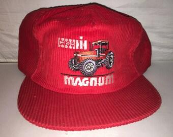 Vintage Case Magnum Corduroy Snapback hat cap rare MADE IN USA tractor  farming equipment e07c9eb400bb