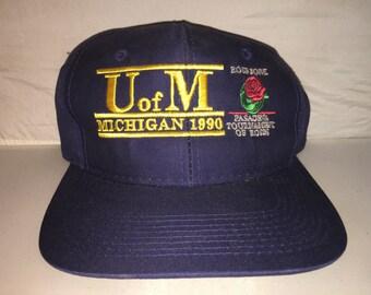 0ecbec1c775 Vintage University of Michigan 1990 Rose Bowl Snapback hat cap rare THE  GAME Glued Tag bar