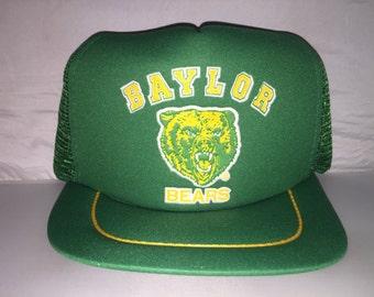 Vintage Baylor Bears Snapback hat cap rare 90s college football NCAA waco  texas deadstock trucker mesh e2b19e0a4