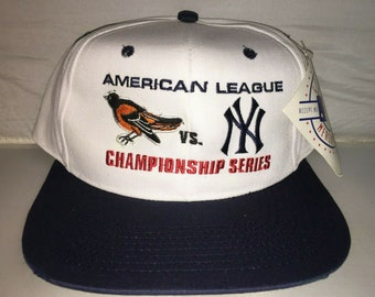 2e48423f2006d Vintage New York Yankees Baltimore Orioles American League Championship Snapback  hat cap rare 90s MLB Baseball jeter