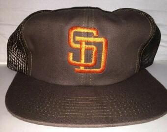26cd1d79b8e0e Vintage San Diego Padres mesh trucker Snapback hat cap rare 90s deadstock MLB  baseball tony gwynn