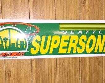 767de40594a Vintage Seattle Supersonics Sonics NBA Bumper Sticker 90s car rare  basketball defunct team