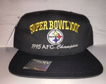 Vintage Pittsburgh Steelers Snapback hat cap rare 90s deadstock NFL  football Super Bowl XXX AFC Champions new with tags cd6d0dfff