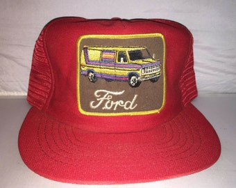 b9ba1a56 Vintage Ford Van Patch hat snapback cap mesh trucker MADE IN USA deadstock  70s 80s