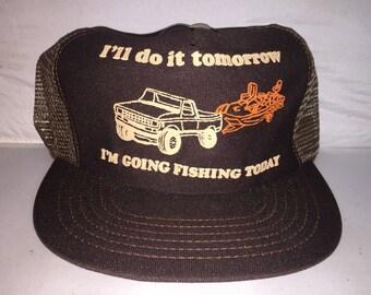 Vintage I ll do it Tomorrow I m Going Fishing Today Snapback hat cap rare  80s Trucker mesh e40df8237f05