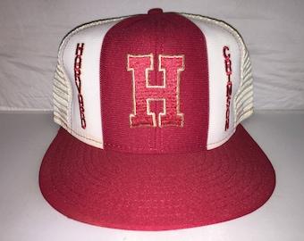 7a118d5ca90 Vintage Harvard Crimson Lucky Stripe Snapback hat cap rare 80s IV leage  college NCAA football frat