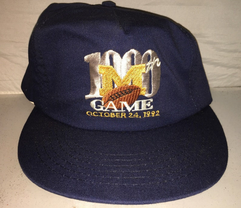 Vintage 1000th Game Michigan Wolverines Snapback hat cap rare  ad20883bc3fd