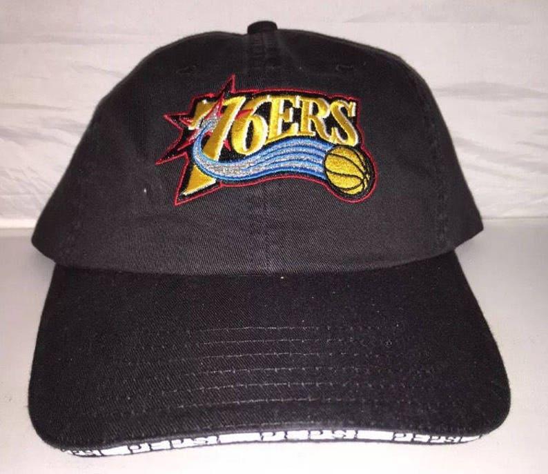 f6e9fc5a99b Vtg Philadelphia 76ers strapback dad hat cap rare 90s og