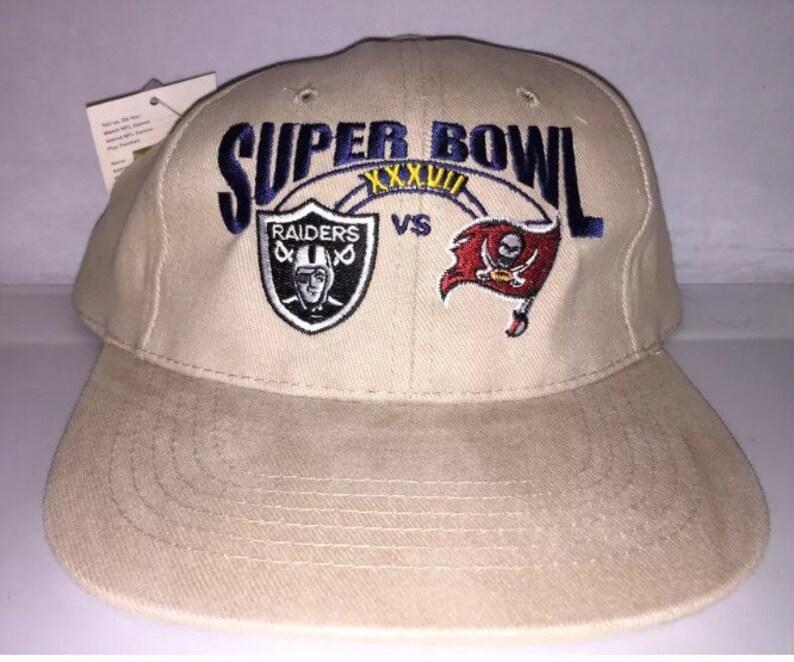 cd98831e Vintage Oakland Raiders Tampa Bay Bucs Buccaneers Super Bowl Strapback dad  hat cap rare deadstock NFL Football 90s jerry rice warren sapp