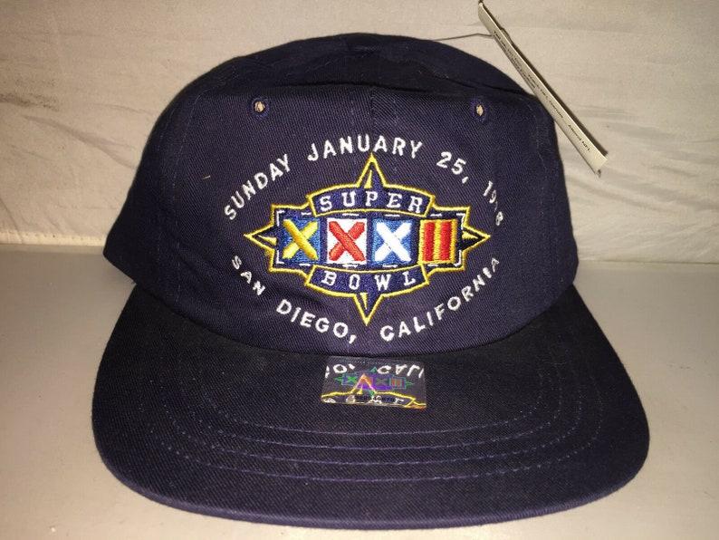 b44a79d8 Vintage Super Bowl XXXII Strapback dad hat cap 90s john elway denver  broncos deadstock nwt NFL football