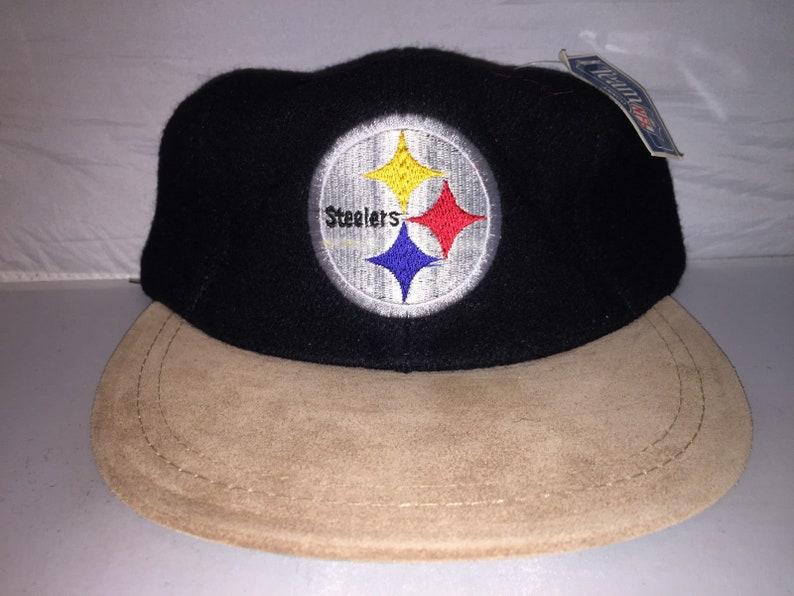 c18fb0a1 Vintage Pittsburgh Steelers Wool Strapback hat cap with suede brim NFL  Football American Needle 90s