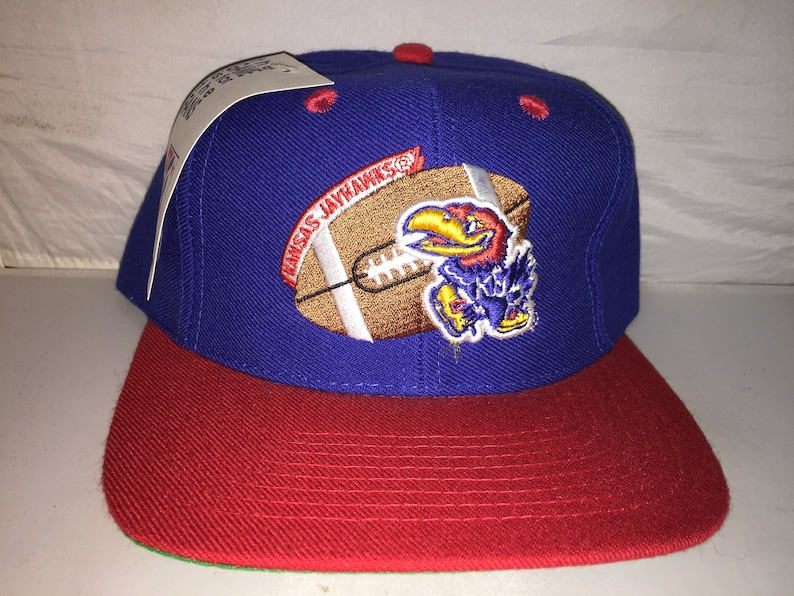 quality design 183c1 fae7e Vintage Kansas Jayhawks Snapback hat cap NCAA College Football   Etsy