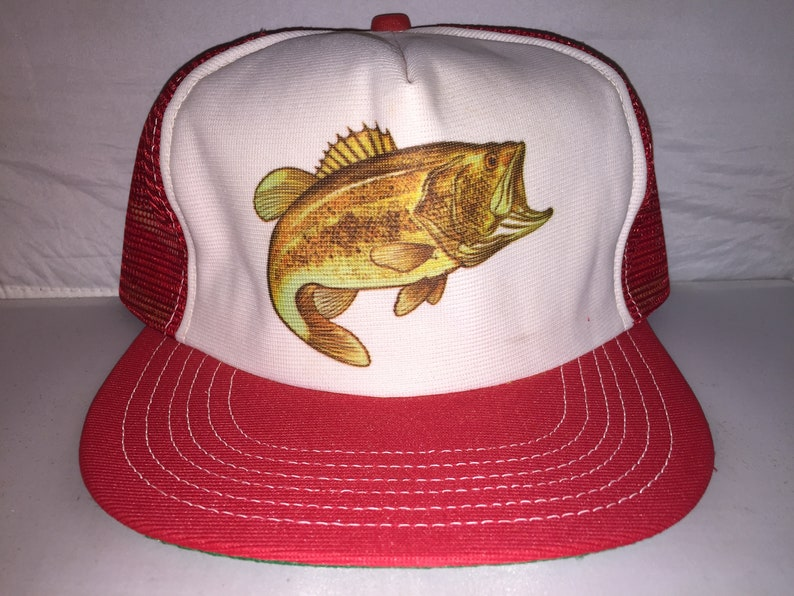 a2012aefec1 Vintage Large Mouth Bass Trucker hat cap 80s MADE IN USA