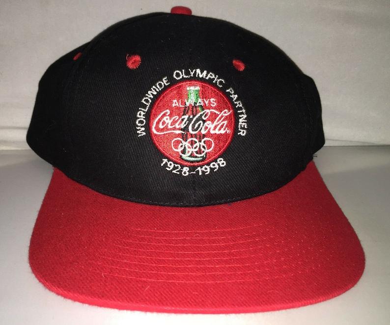 e293aad39 Vintage Coca Cola Snapback hat cap rare 90s soda coke hipster pop supreme  Olympics sponsor