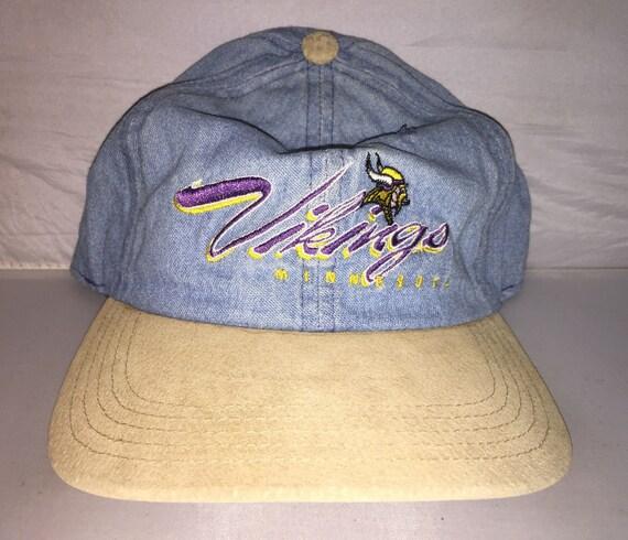 5c2b7586 Vintage Minnesota Vikings Denim Strapback dad hat cap rare 90s NFL Football