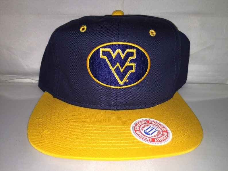 new product c3d81 c78e2 Vintage West Virginia Mountaineers Snapback hat cap rare 90s   Etsy